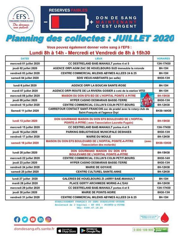 Planning de collecte de sang - juillet 2020