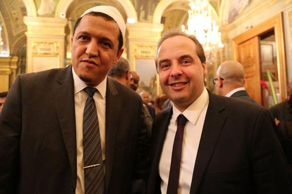 Hassen Chalghoumi (association cultuelle des musulmans de Drancy) et Jean-Christophe Lagarde, nouveau patron de l'UDI