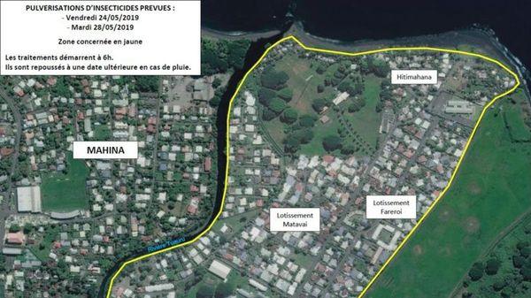 Pulvérisations d'insecticides à Mahina