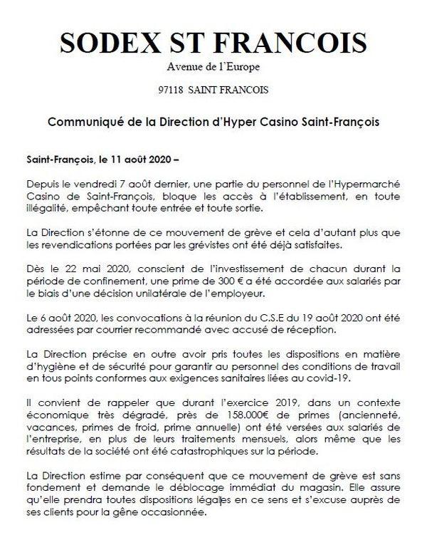 Communiqué direction Hyper Casino St-François