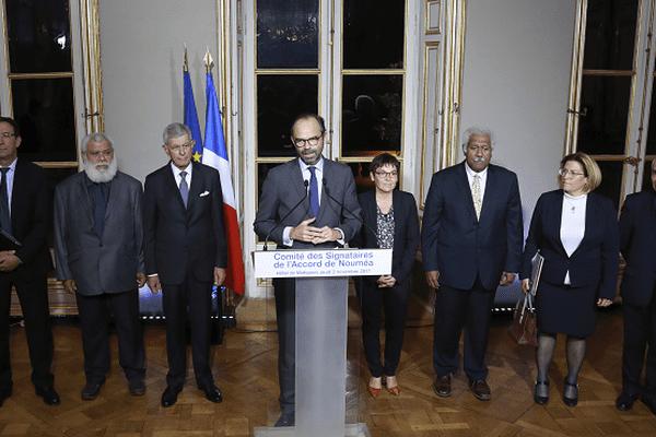 Le Premier ministre, Edouard Philippe, après le 16e comité des signataires à Matignon.