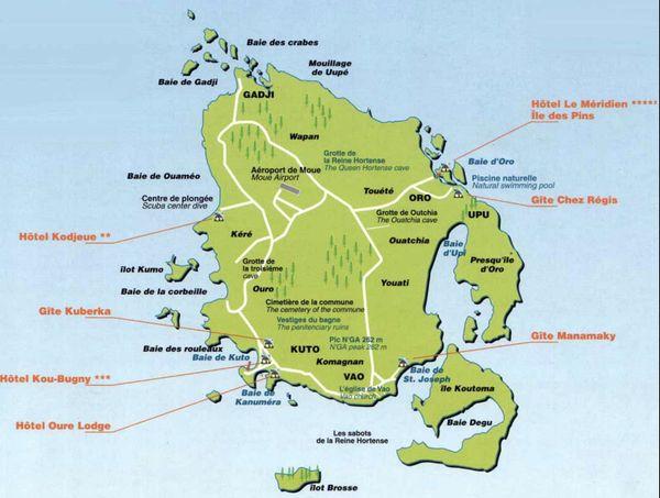 carte île des Pins