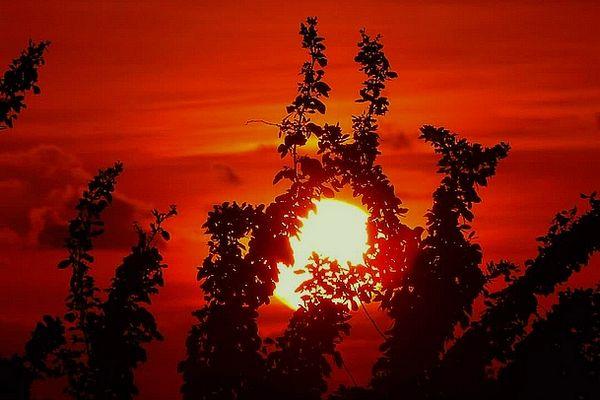 soleil rouge sur l'Ouest de La Réunion 3 mars 2021