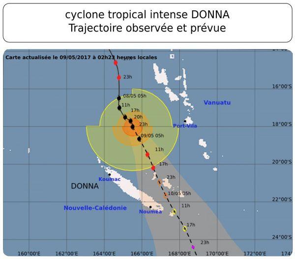 Trajectoire cyclone Donna mardi 9 mai 2h23