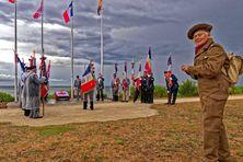 Cérémonie à Bernières-sur-Mer à l'esplanade Nan Red, lieu de débarquement des soldats acadiens et canadiens du North Shore régiment du Nouveau-Brunswick durant la seconde guerre mondiale (photo prise en 2019)