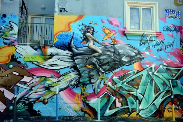 Abuz, fresque géante réalisée à Los Angeles (CA)