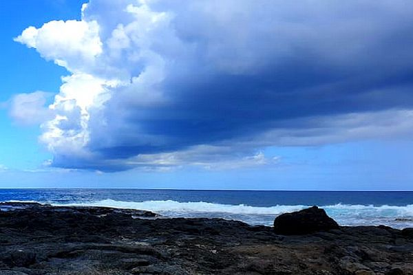 Gros nuages sur le Cap Lahoussaye février 2021