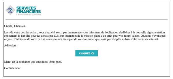 Capture mail frauduleux OPT