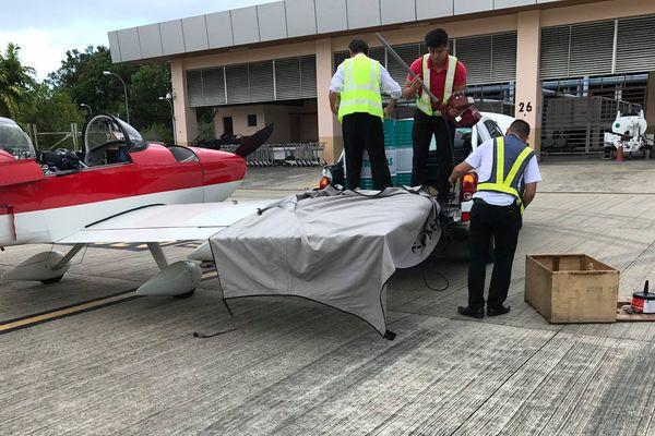 avion Hugues Jurion pris en charge en Malaisie