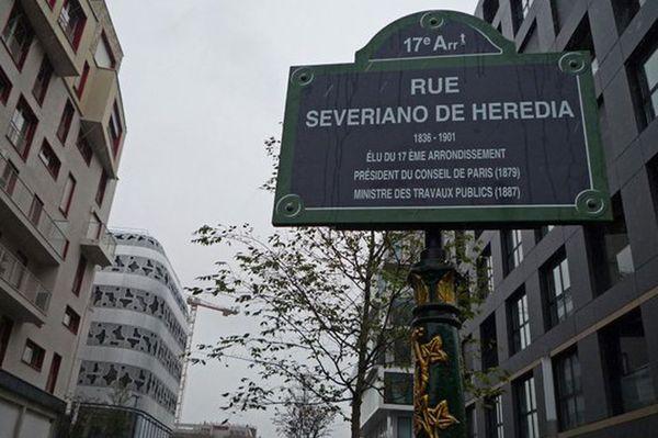 La plaque rue Severiano de Heredia