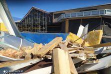 Le chantier est à l'arrêt sur la façade ouest du bâtiment