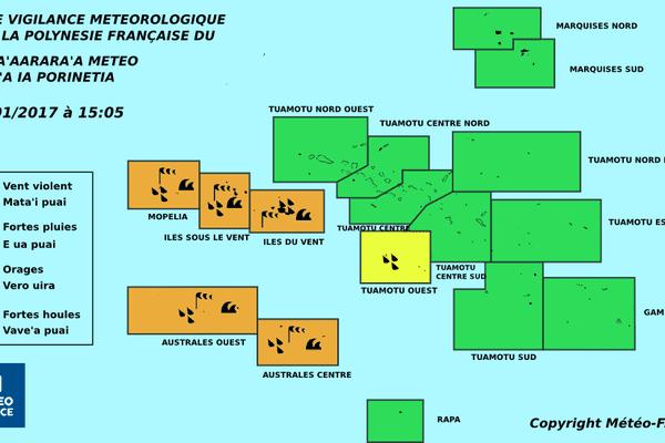 Vigilance orange sur la Société et les Australes centre et ouest