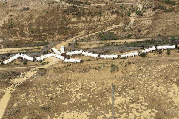 Images aériennes du déraillement du train