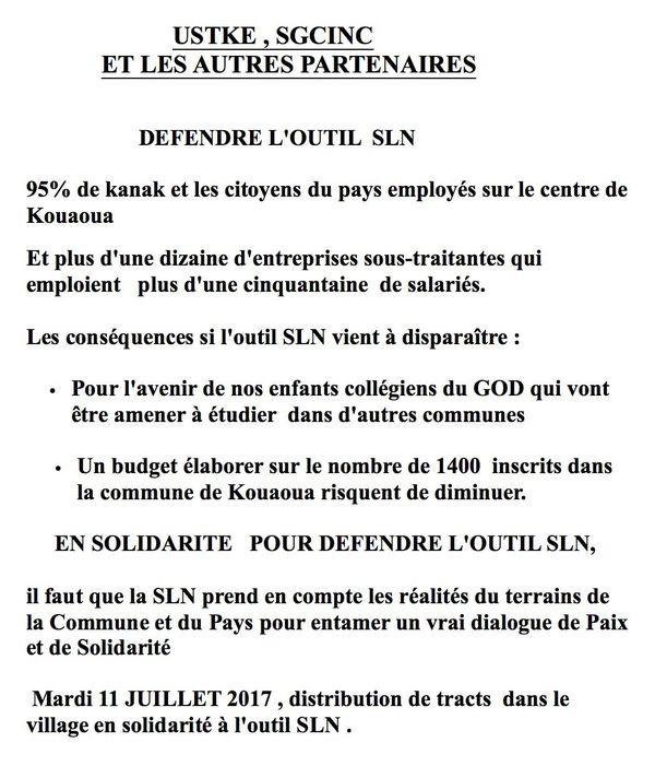SLN Kouaoua communiqué syndicats
