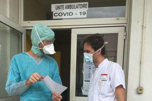 Unité de dépistage Covid-19 à l'hôpital de Saint-Pierre