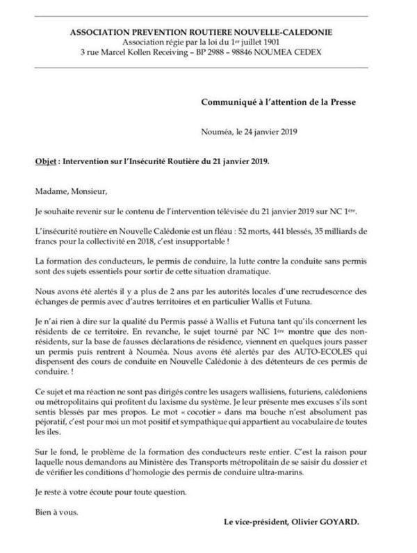 communiqué de presse d'Olivier Goyard