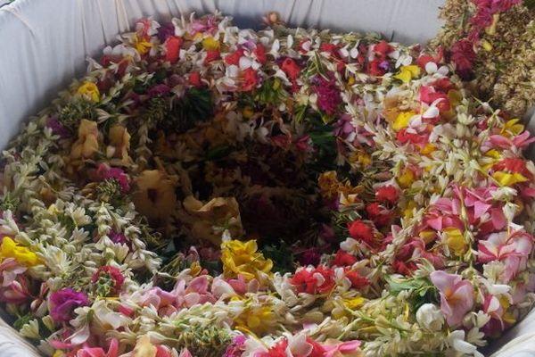 confection du plus grand collier de fleurs pour le Téléthon