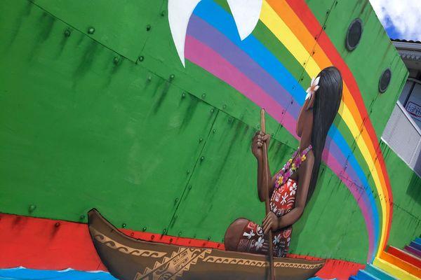 le graffiti du Français Seth et du Tahitien Rival