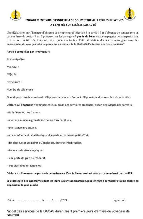 Formulaire Betico rapatriement Lifou 5 avril 2021