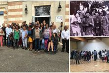 """Les """"enfants réunionnais du Gers"""", aujourd'hui adultes, en visite dans le foyer où ils ont passé une partie de leur enfance dans les années 60 et 70, le 28 septembre 2019."""