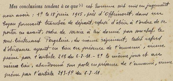 Juin 1915, les conclusions du rapporteur concernant Marcel Pierret, natif de Saint-Pierre et Miquelon