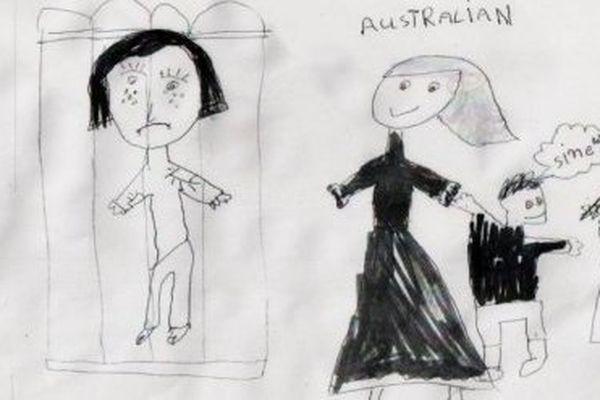 Un dessin réalisé par un enfant détenu dans le centre de Nauru.