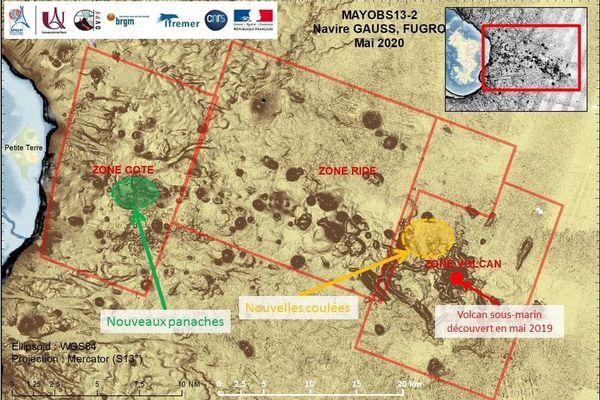 Carte des opérations et des observations de la campagne MAYOBS 13-2