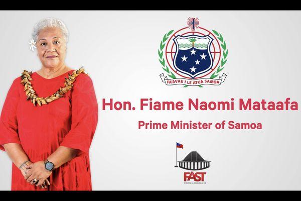 Communication du FAST party pour la prestation de serment de Fiame Naomi Mata'afa à Samoa