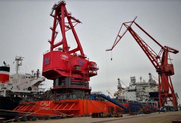 Kea Trader: la barge Cali en cours de construction, en février 2019.