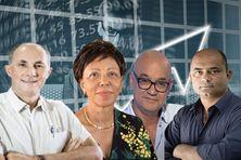 De gauche à droite : Daniel Moreau (Réunion) - Josiane Capron (Martinique) - Ernest Prévot (Guyane)  - Franck Desalme (Guadeloupe)