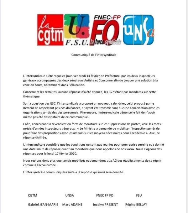 Communiqué de presse Intersyndicale éducation 14 février 2020
