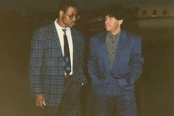 Albert Couriol et Diego Maradona en 1988