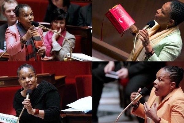 Mariage pour tous : Christiane Taubira à l'Assemblée pendant les débats qui auront duré 136 heures et 46 minutes entre janvier et avril 2013.
