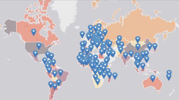Alumni : carte des pays partenaires
