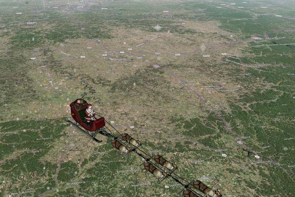 Le traîneau du père Noël survolant une carte des Etats Unis (25 décembre 2017)