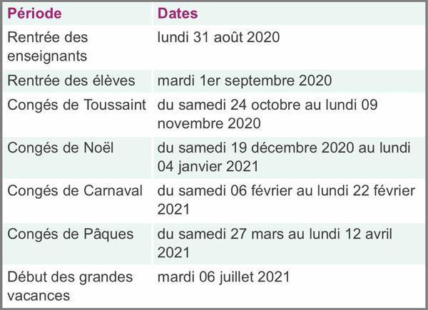Calendrier scolaire 2020-2021 en Martinique