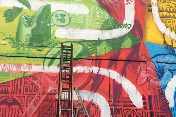 Fresque de AbuAe, HTJ et Jops au marché de Tahiti