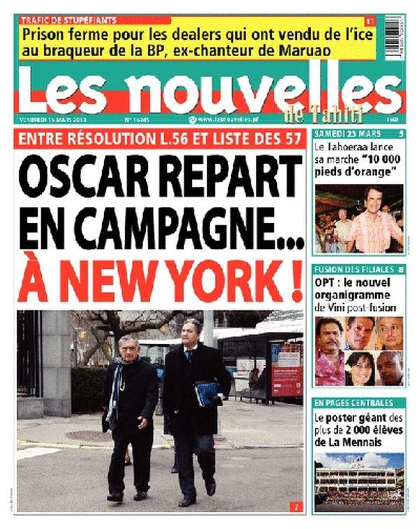 Les Nouvelles de Tahiti, 15 mars 2013