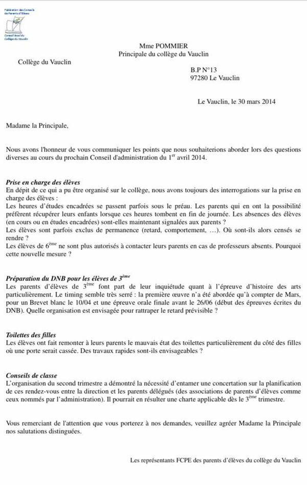FCPE collège Vauclin