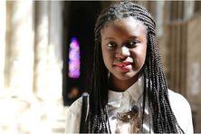 Rachel Castin en visite dans la cathédrale de Reims, un de ses lieux préférés dans sa ville d'adoption