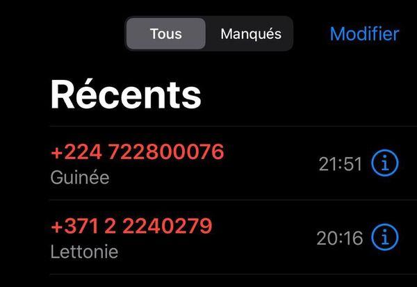 "Arnaque ""Ping Calls"" 14 juin 2020"