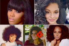 En haut à gauche Morgane Edwige, Miss Martinique 2015, première dauphine de Miss France 2016, à droite : Azuima Issa, Miss Réunion 2015 En bs à gauche : Ophély Mézino, Miss Guadeloupe 2018, première dauphine de Miss France, première dauphine de Miss monde, Miss World Europe 2019 - Vaimiti Teifitu, Miss Tahiti 2015 et Alycia Aylies, Miss Guyane 2016, Miss France 2017