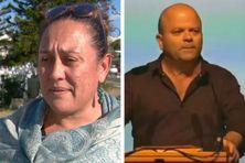 Manina Tehei le jour de sa plainte, Philippe Blaise durant le meeting ne question.