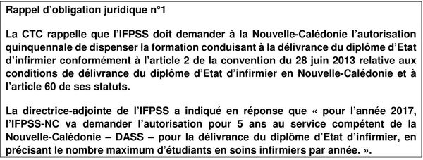 Recommandation de la Chambre des comptes à l'IFPSS 2017