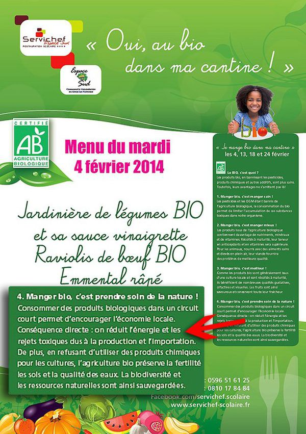 Sur son site internet, Servichef se vante de choisir des produits bio locaux.