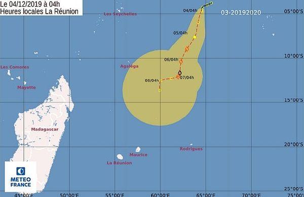 Carte de la tempête tropicale 4 décembre 2019