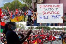 """Rassemblement populaire du 27 février 2021 à Fort-de-France d'organisations citoyennes, sociales, syndicales et politiques pour réclamer """"justice et réparation"""" dans le dossier des pesticides."""