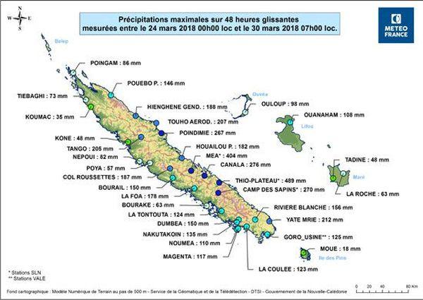 Cumul des pluies après Iris, carte du 30 mars 2018 après-midi