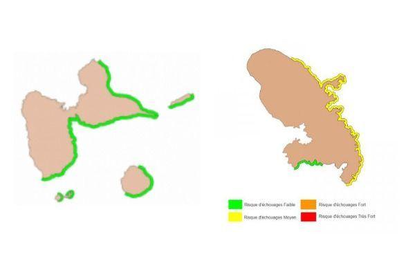 Cartes issues de deux bulletins de prévision des échouages (Guadeloupe-Martinique) en mai 2020
