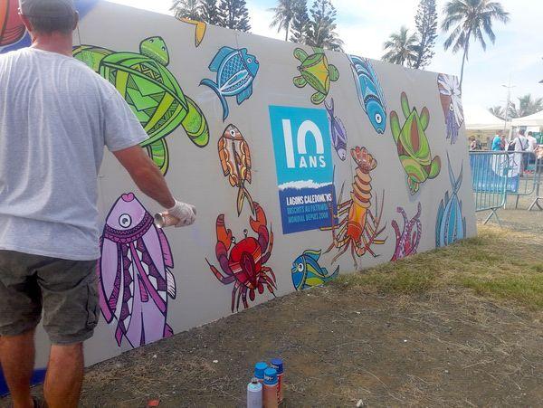 Dix ans d'inscription des lagons au patrimoine mondial: fresque à l'Anse-Vata, 8 juillet 2018